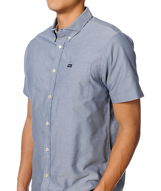 RVCA Thatll Do Blue Chambray Short Sleeve Button Up Shirt