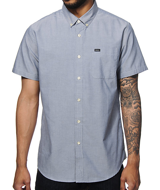 RVCA Thatll Do Blue Short Sleeve Button Up Shirt
