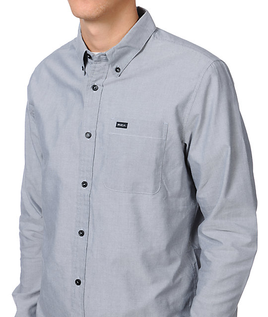 RVCA Thatll Do Grey Woven Button Up Shirt