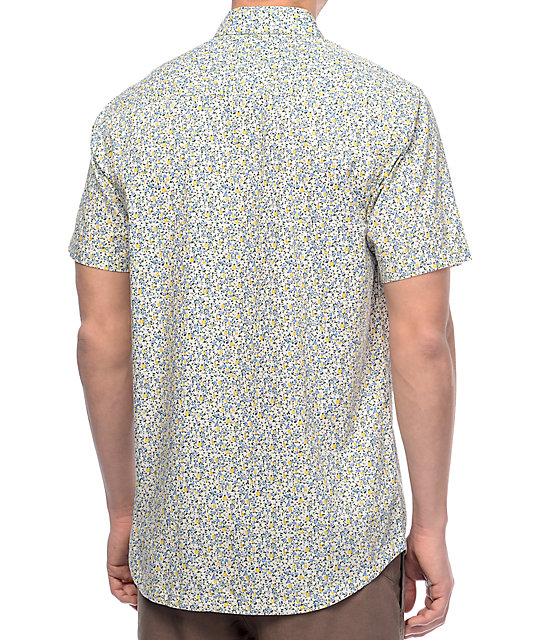 RVCA Top Poppy White Floral Short Sleeve Button Up Shirt