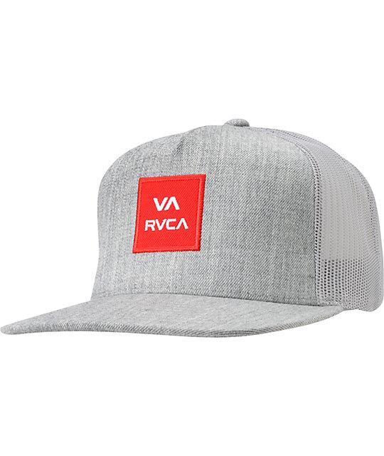 RVCA VA All The Way Heather Grey Snapback Trucker Hat