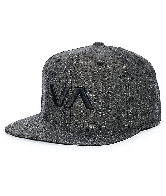 RVCA VA II Black Denim Snapback Hat