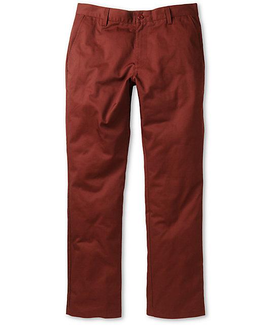 RVCA Week-End Maroon Slim Fit Twill Pants