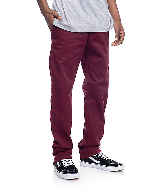 RVCA Weekend Stretch Burgundy Chino Pants