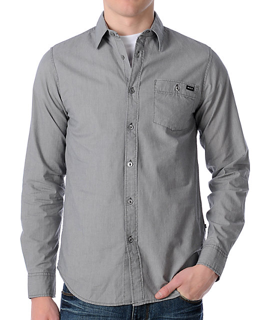 RVCA Wesley Grey Long Sleeve Woven Shirt
