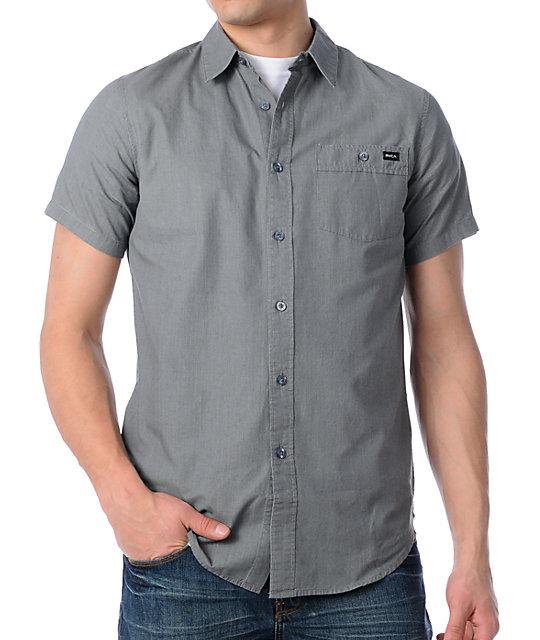 RVCA Wesley Grey Stripe Woven Shirt