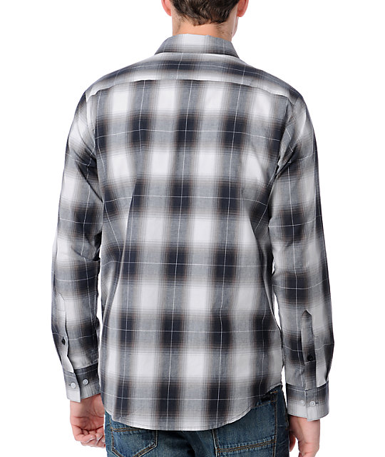 RVCA Woody Black Plaid Woven Shirt