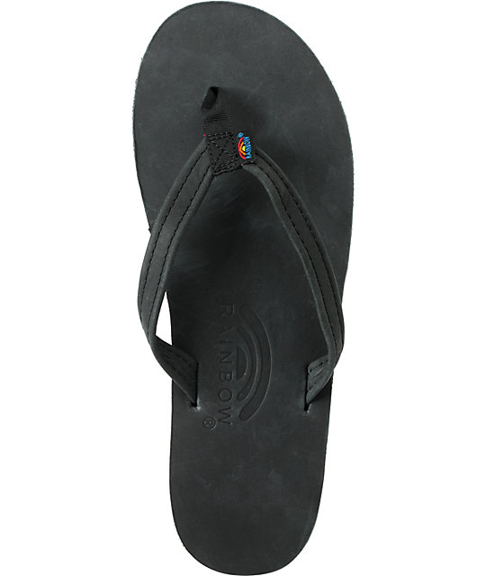 Rainbow Premier Black Leather Sandals