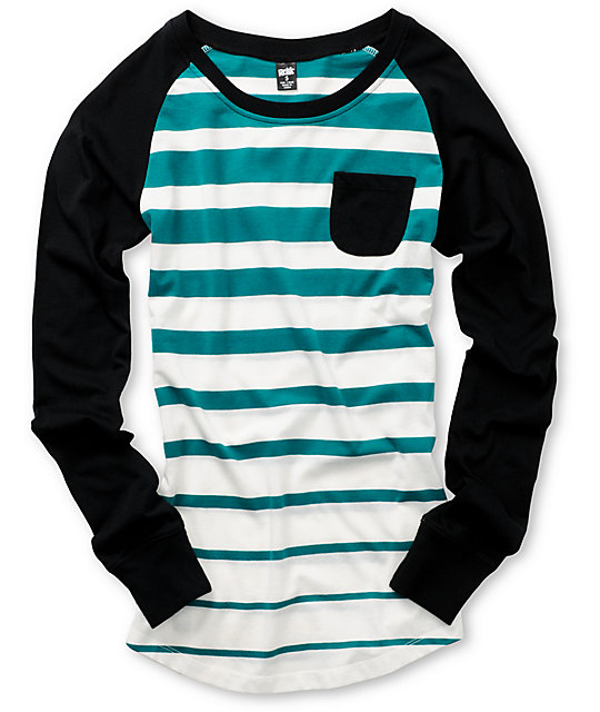 Ralik Fierce Stripe Teal Baseball Tee