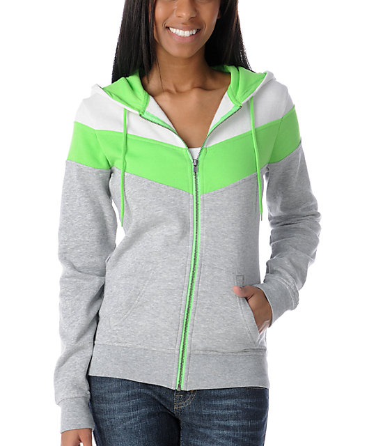 Ralik Hyper White & Green Zip Up Hoodie