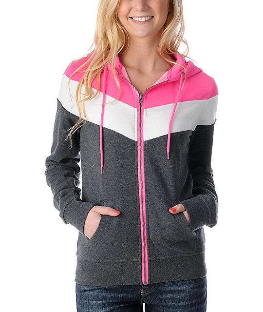 Ralik Hyper White & Pink Zip Up Hoodie