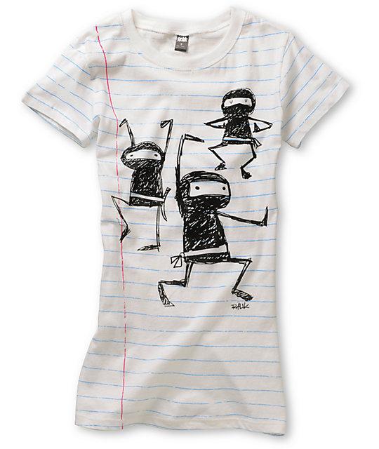 Ralik Ninja 101 White Striped T-Shirt