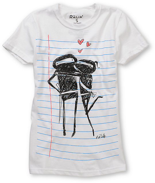 Ralik Ninja Love Notebook Stripe White T-Shirt
