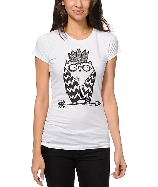 Ralik Tribe Owl UV Hidden Color White T-Shirt