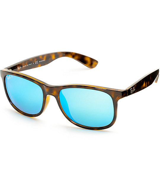 Ray-Ban Andy Tortoise & Blue Flash Polarized Sunglasses