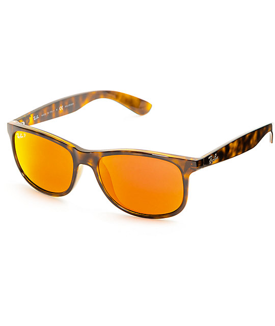 polarized ray ban sunglasses  Ray-Ban Andy Tortoise \u0026 Red Flash Polarized Sunglasses at Zumiez : PDP