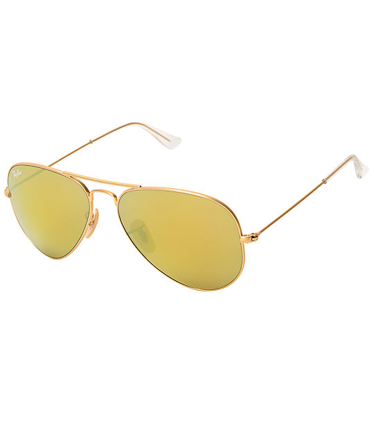 ray ban sunglasses zumiez  ray ban aviator flash mirror gold & orange sunglasses