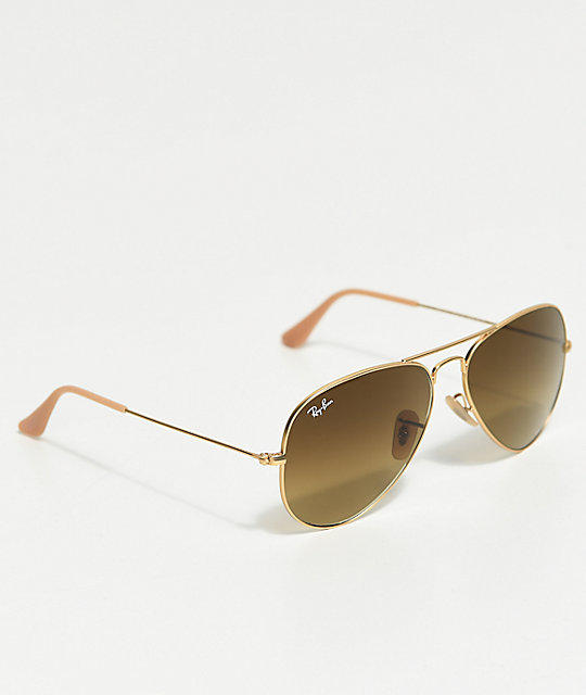 ray ban aviator gold brown sunglasses zumiez. Black Bedroom Furniture Sets. Home Design Ideas