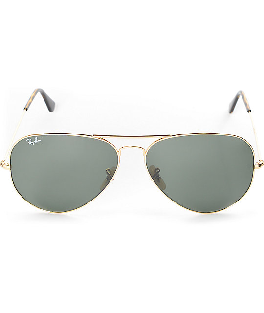 Ray-Ban Aviator Gold and Green Classic G-15 Sunglasses