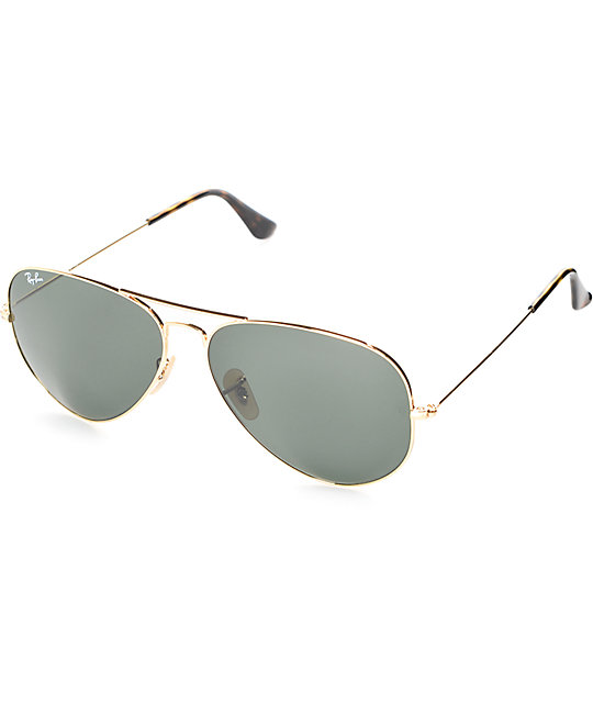 ray ban aviator green gold  Ray-Ban Aviator Gold and Green Classic G-15 Sunglasses at Zumiez : PDP