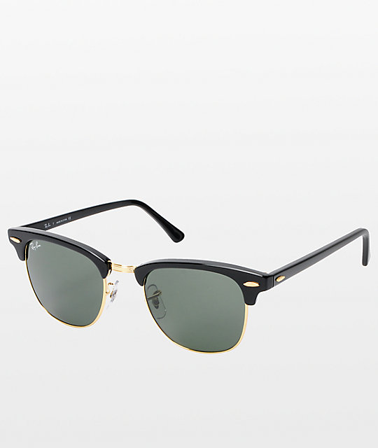 ray ban golden frame  Ray-Ban Clubmaster Black \u0026 Gold Sunglasses at Zumiez : PDP