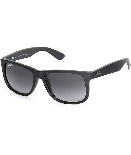 black lens ray bans ysv6  Ray-Ban Justin Black Rubber Polarized Sunglasses