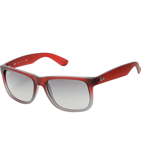 red ray ban sunglasses  Ray-Ban Justin Rubberized Red \u0026 Grey Gradient Sunglasses at Zumiez ...
