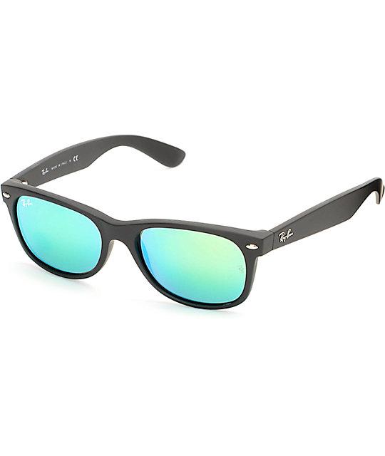 ray ban green wayfarer  Ray-Ban New Wayfarer Black Rubber Green Mirror Sunglasses at ...