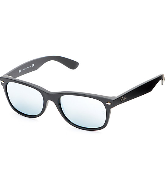 new wayfarer  Ray-Ban New Wayfarer Black Rubber Silver Mirror Sunglasses at ...