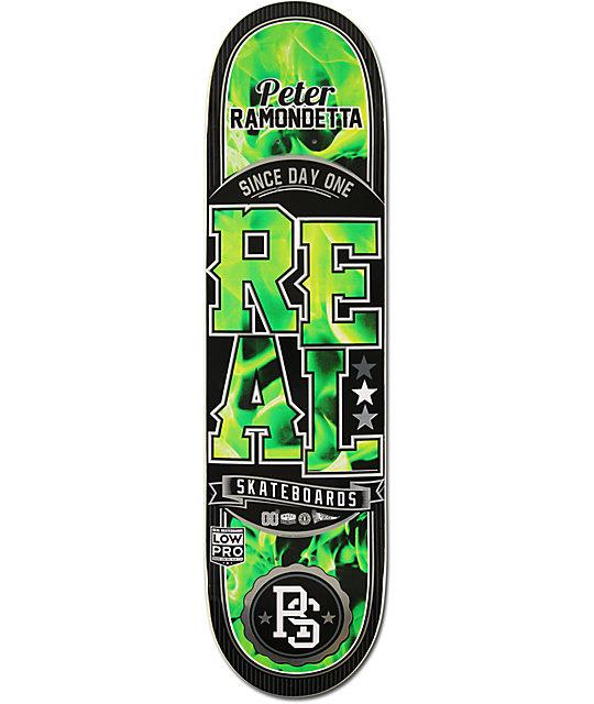"""Real Ramondetta Burn Green 8.18""""  Skateboard Deck"""