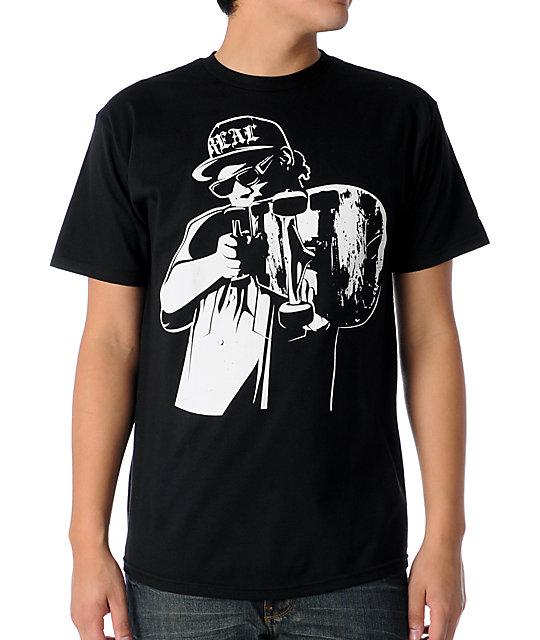 Real Skateboards Easy C Black T-Shirt