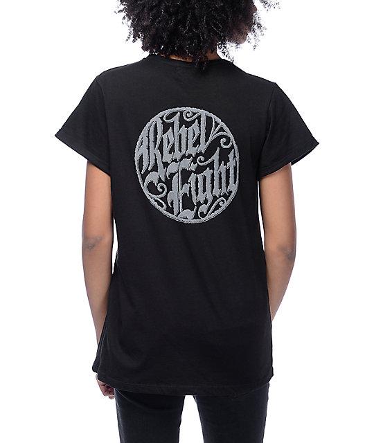 Rebel 8 Logo Black Rolled Sleeve T-Shirt
