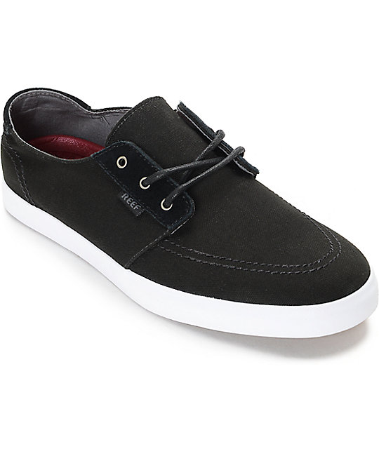 reef banyan black white canvas shoes