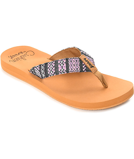 Reef Cushion Threads Textile Black & Tan Sandals