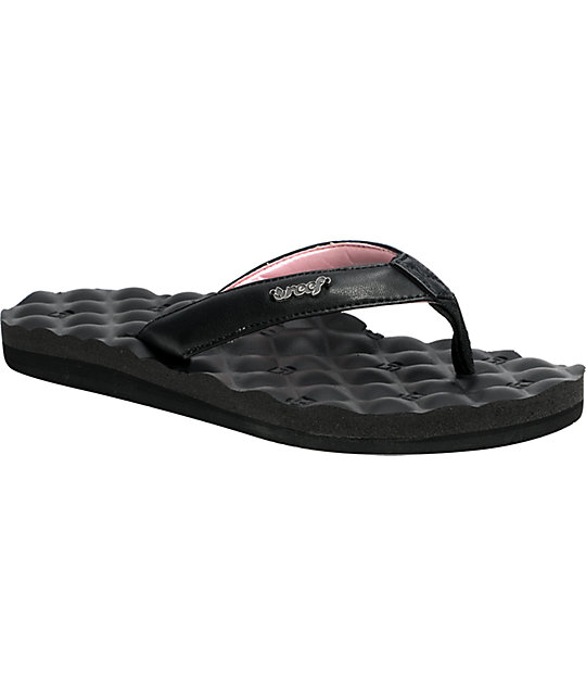 Reef Dreams Black & Pink Sandals