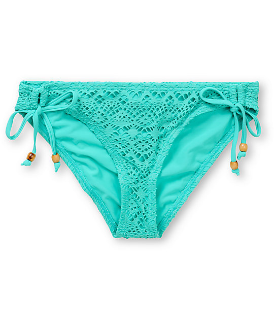 Reef Easy Breezy Crochet Turquoise Tunnel Tie Bikini Bottom