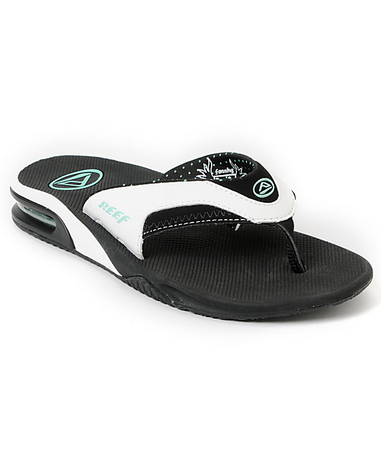 Reef Fanning Black, White & Aqua Sandals
