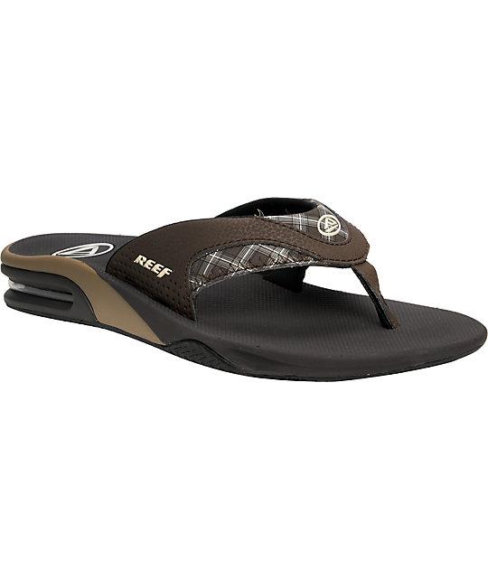 Reef Fanning Brown Plaid Sandals