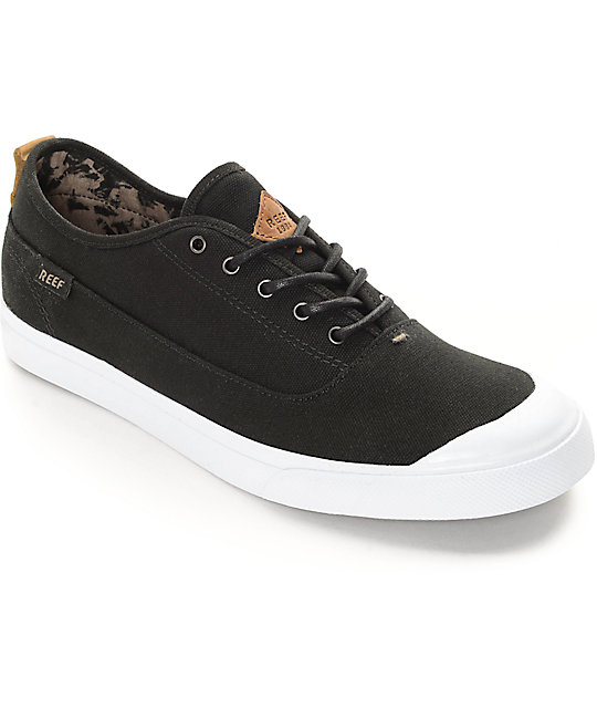 reef ripper black white canvas shoes zumiez