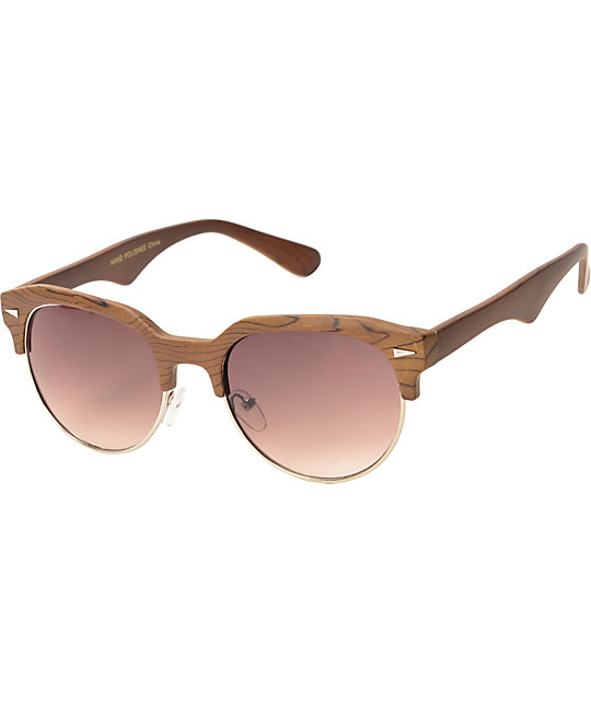 Retro Brown Wood Sunglasses