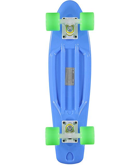 """Retro Skateboards Blue, Lime Green, & White 22.5""""  Cruiser Complete"""