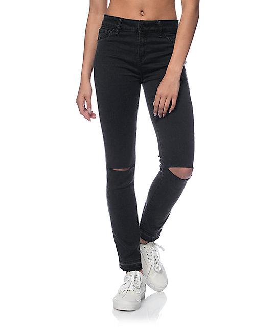 Rewash Black Silk Velvet Destroyed Released Hem Jeans