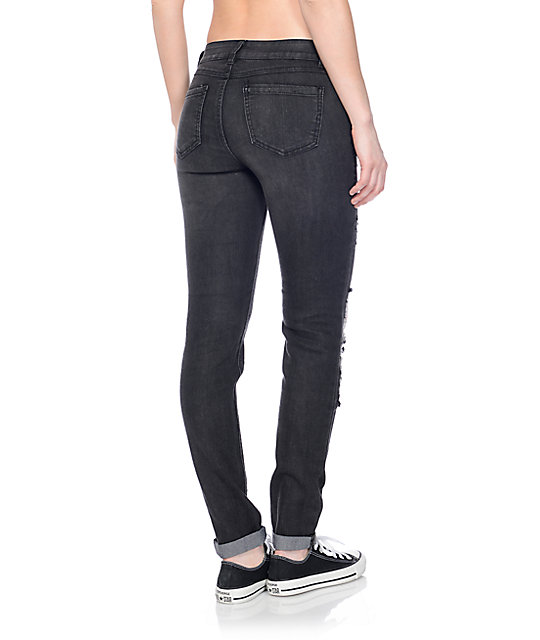 Rewash Grey Vintage Reunion Destroyed Skinny Jeans