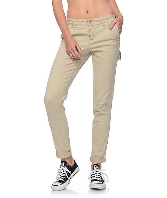 Rewash Hana Khaki Stretch Cargo Skinny Pants at Zumiez : PDP