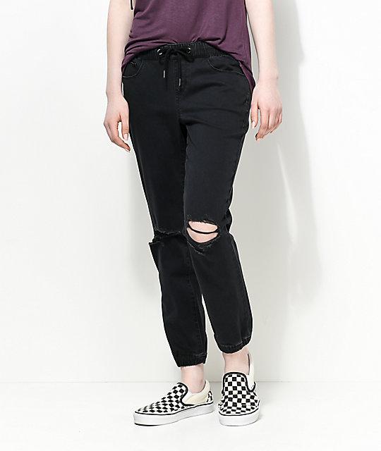 Rewash Jamie pantalones jogger rotos en negro