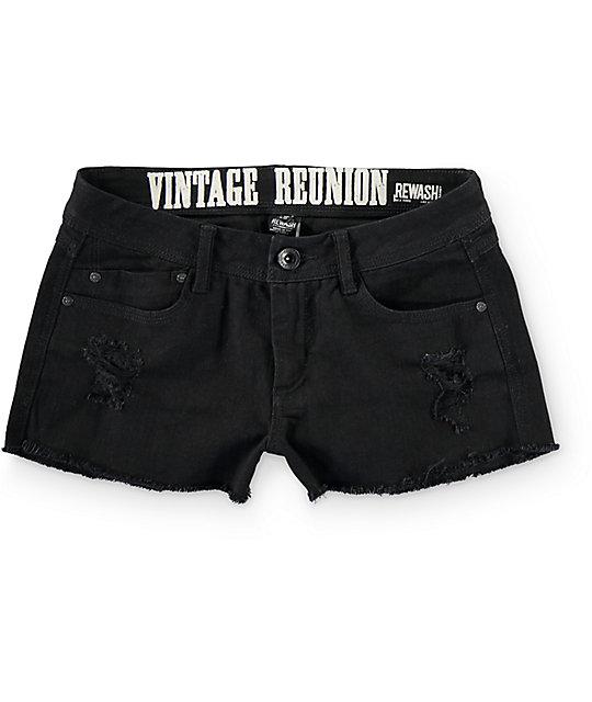 Rewash Steph Black Fray Hem Destroyed Shorts