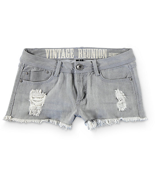 Rewash Steph Grey Fray Hem Destroyed Shorts