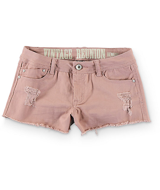 Rewash Steph Mauve Fray Hem Destroyed Shorts