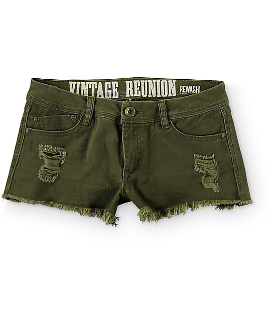 Rewash Steph Olive Fray Hem Destroyed Shorts