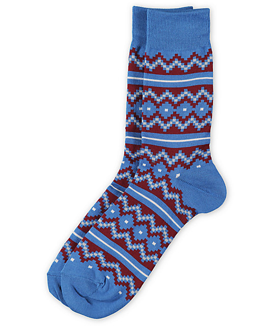 Richer Poorer Horn Blower Blue & Red Crew Socks